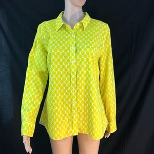 Crown and Ivy Shirt Medium Yellow White Button Dow